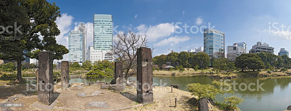Tokyo downtown skyscrapers tranquil pond Kyu Shiba Rikyu Shimbashi Japan stock photo