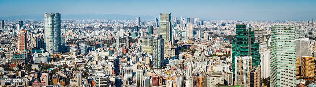 Tokyo futuristic cityscape aerial panorama skyscrapers highrises Roppongi Hill Japan stock photo