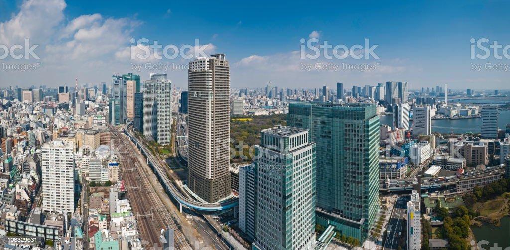 Tokyo Ginza Shiodome downtown skyscraper cityscape panorama Japan stock photo