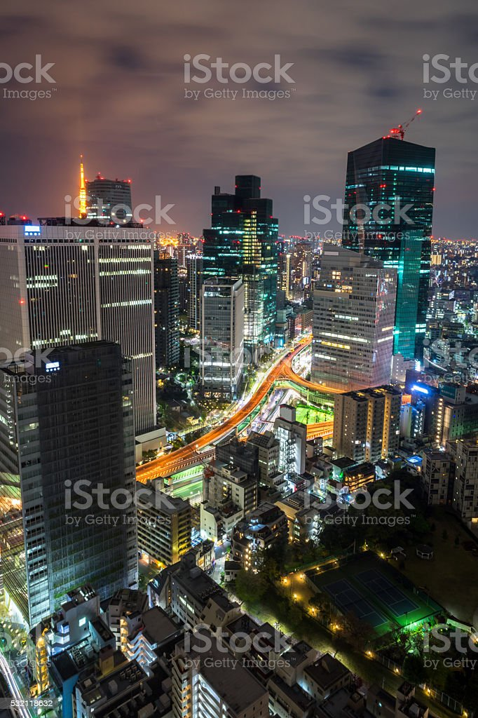 Tokyo high rises building at night stock photo