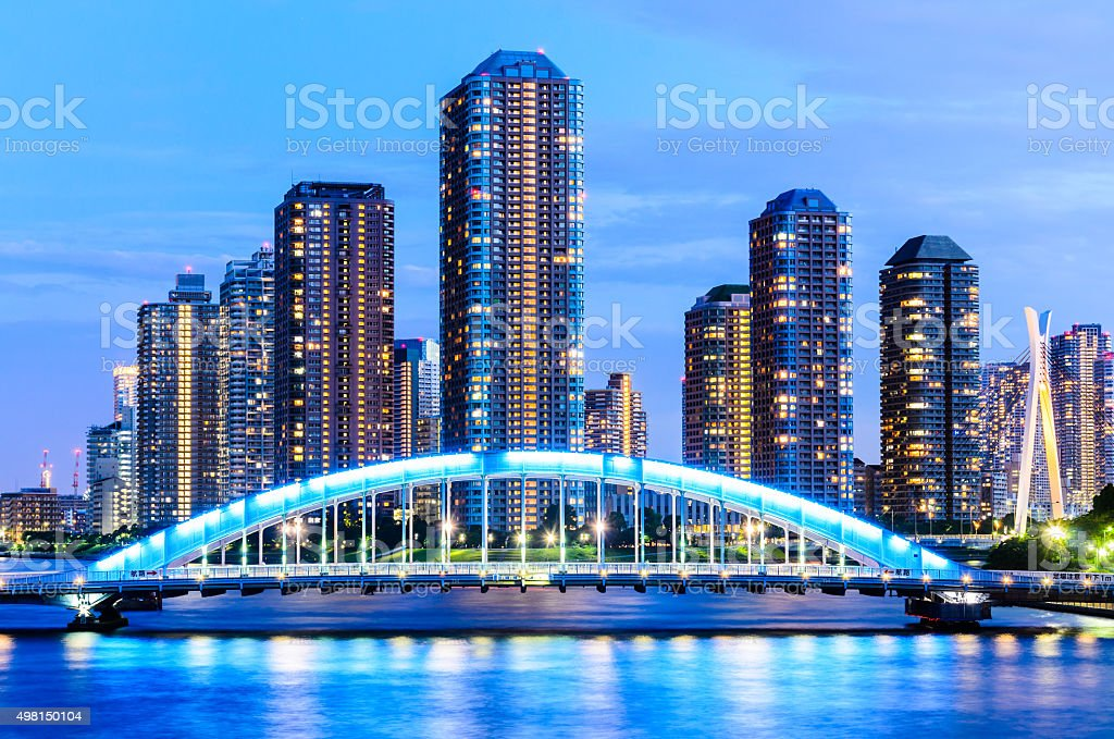 Tokyo Highrise Apartment and Sumida River in the Evening stock photo
