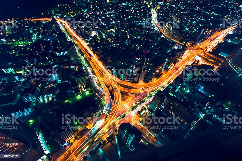 Tokyo highway junction from above stock photo