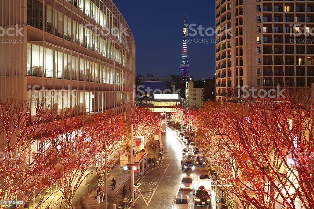 Tokyo Illuminations of the Christmas light stock photo