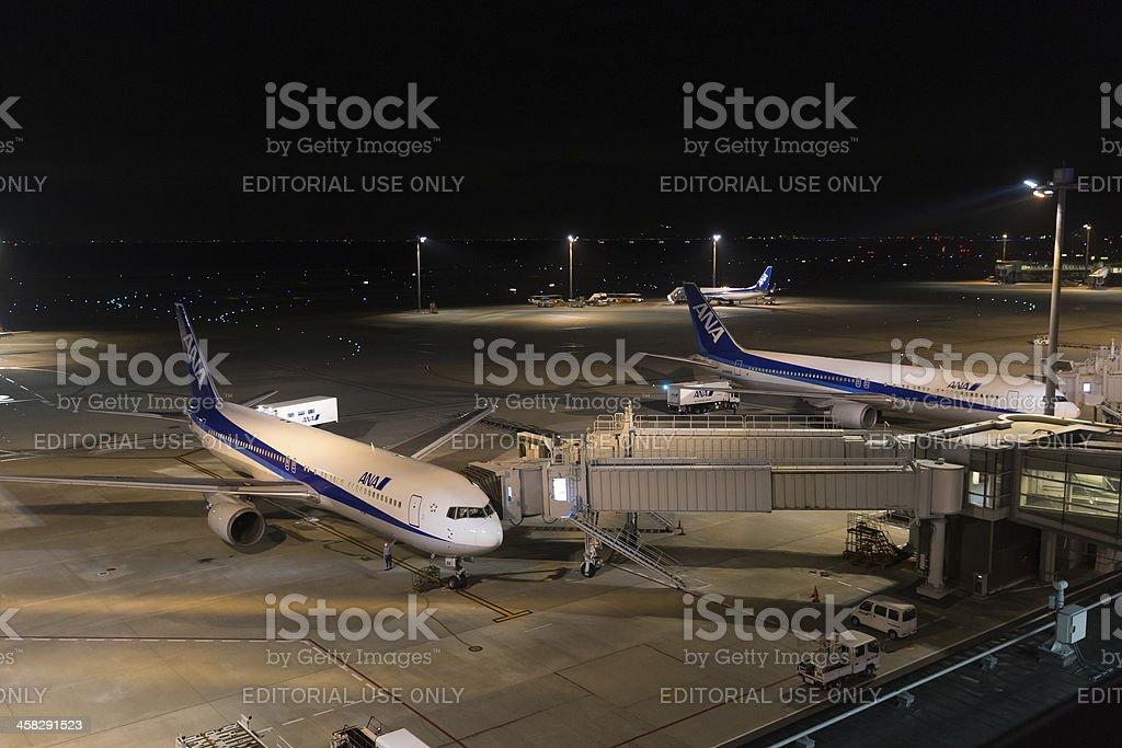 Tokyo International Airport at night royalty-free stock photo