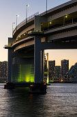 Tokyo, Japan at Rainbow Bridge and Tokyo Bay