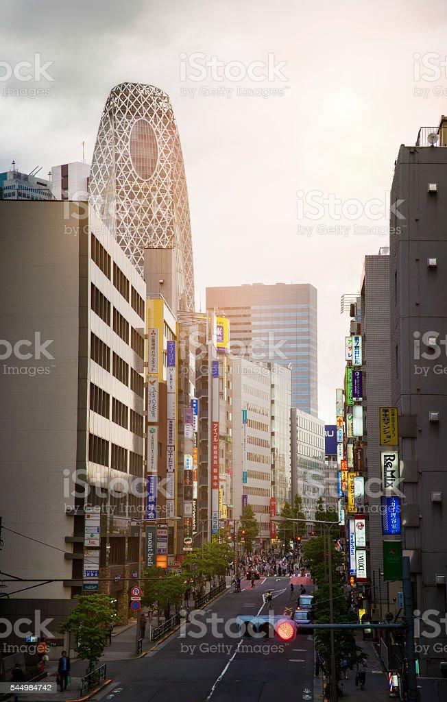 Tokyo Japan Meiji Dori at sunset dramatic sky panorama stock photo