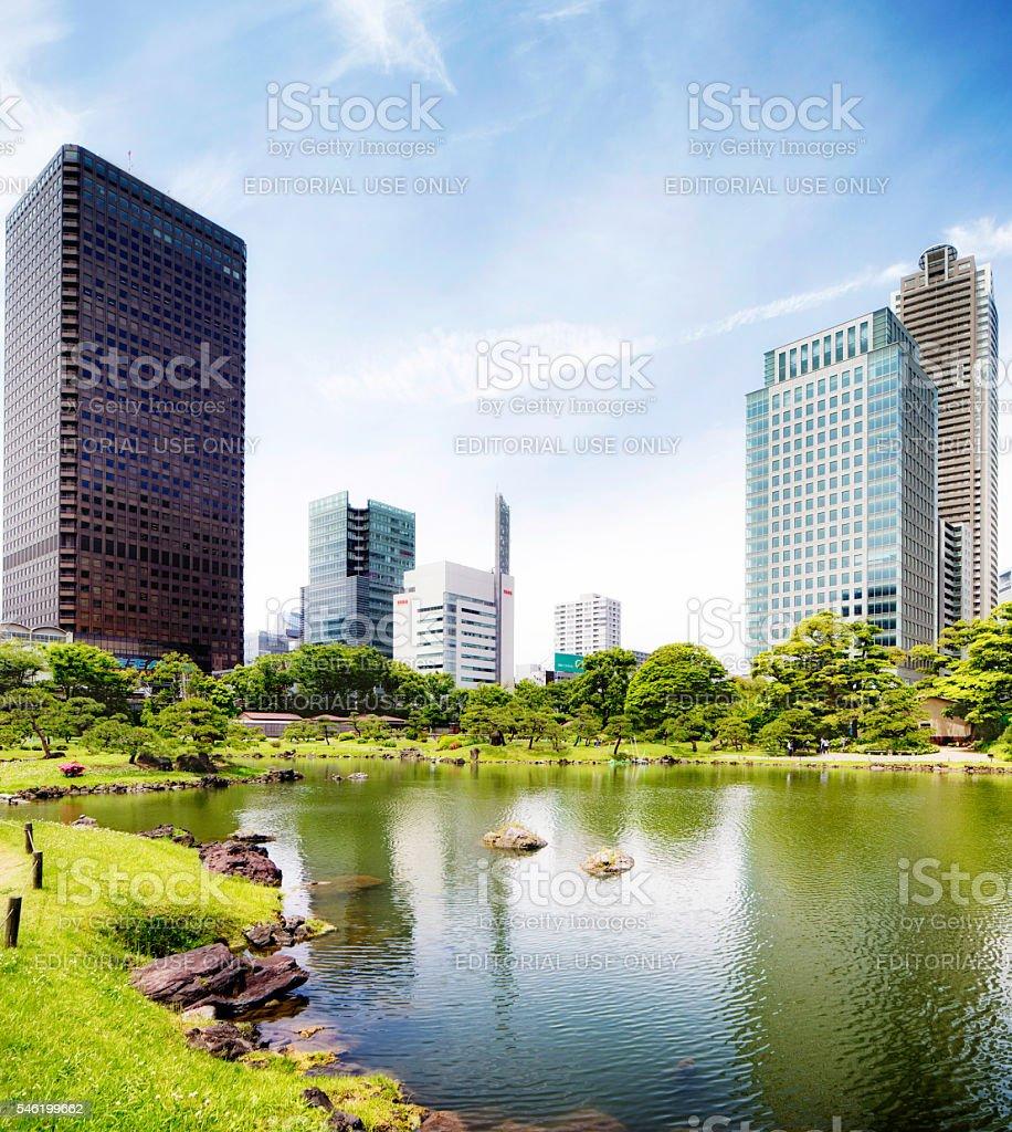 Tokyo Japan Shiba Rikyu garden and skyline stock photo
