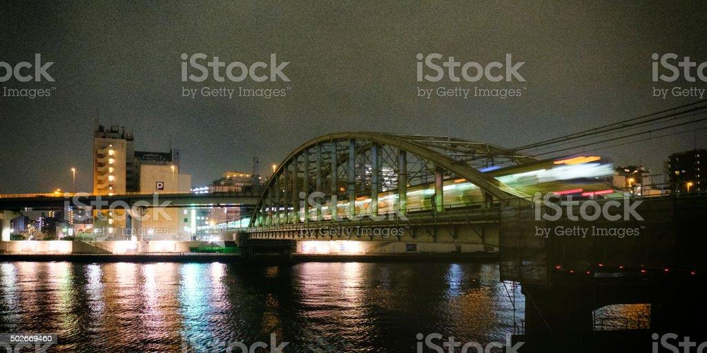 Tokyo Japan Train at Night stock photo