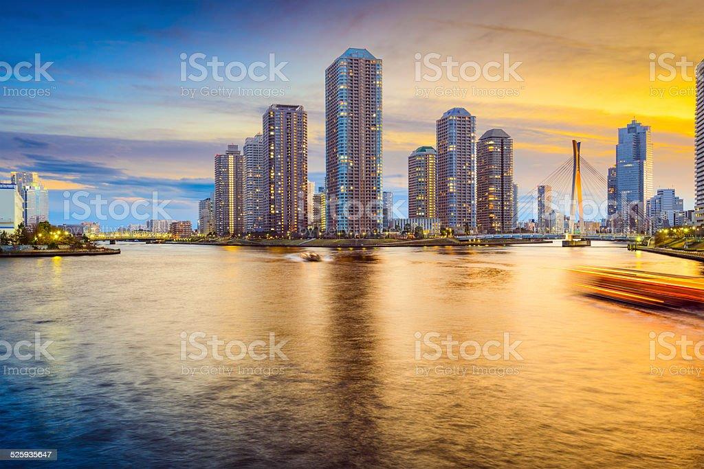 Tokyo, Japan Tsukishima Cityscape stock photo