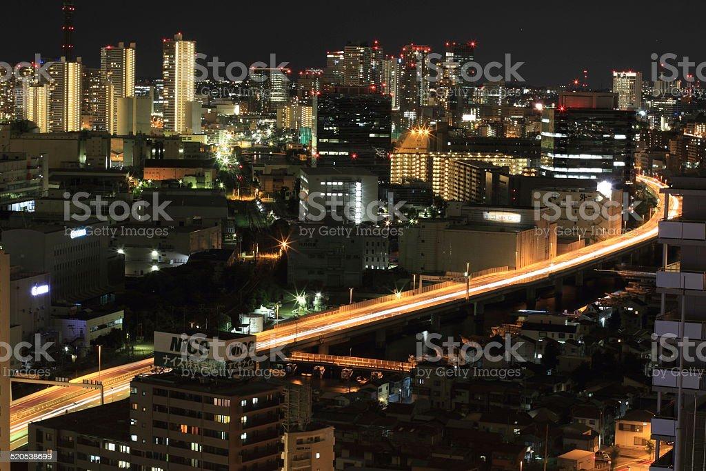 Tokyo metropolitan expressway at night stock photo