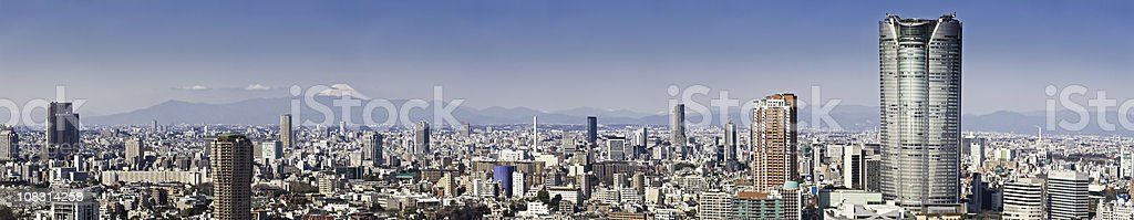 Tokyo Mt Fuji Ropponogi Hills downtown skyscrapers cityscape panorama Japan stock photo