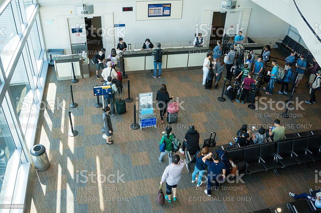 Tokyo Narita Airport Gate Boarding stock photo
