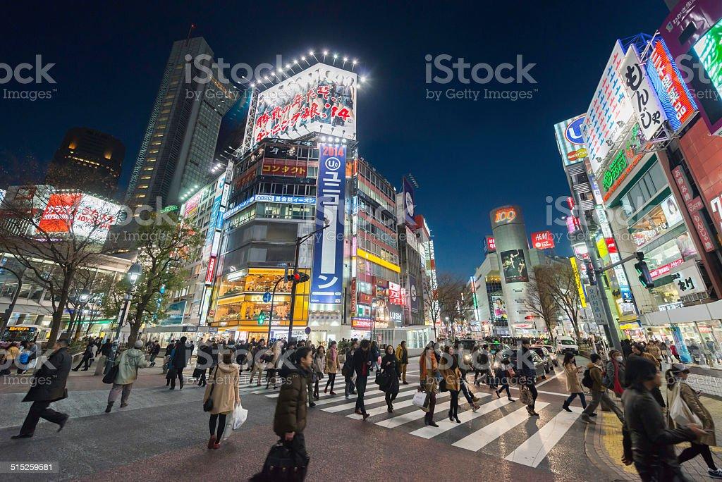 Tokyo neon signs and crowds Shinjuku illuminated at dusk Japan stock photo