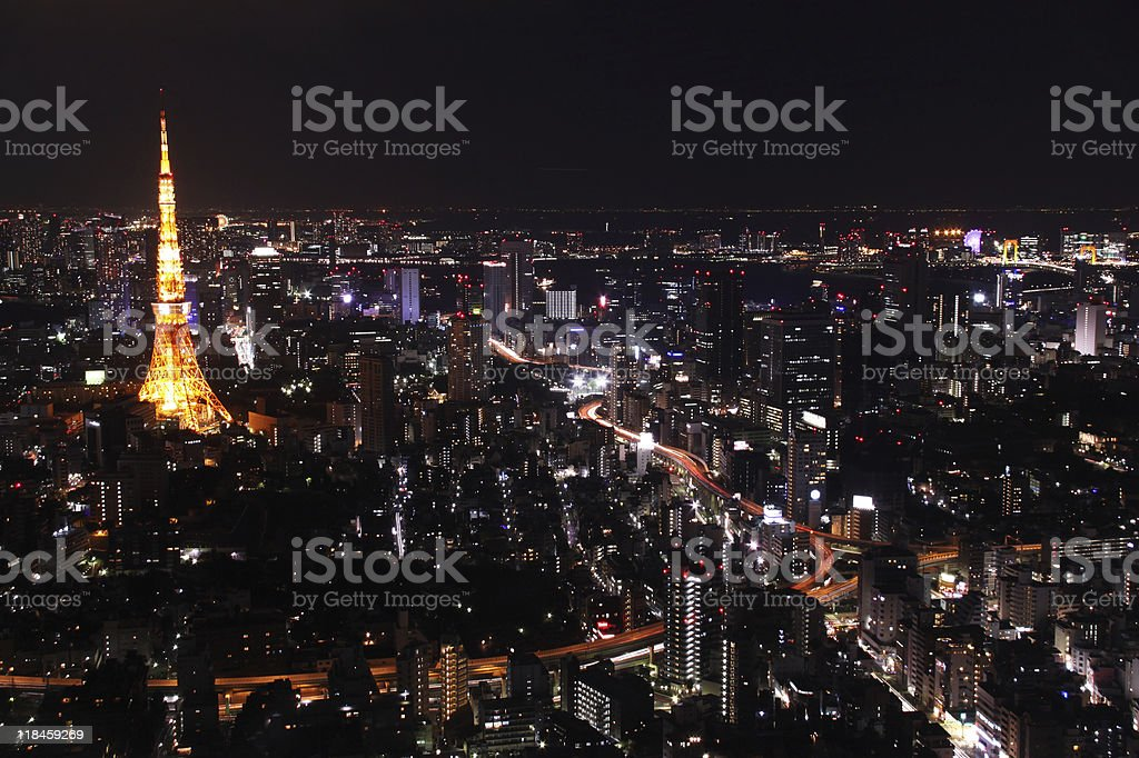 Tokyo night cityscape horizontal royalty-free stock photo