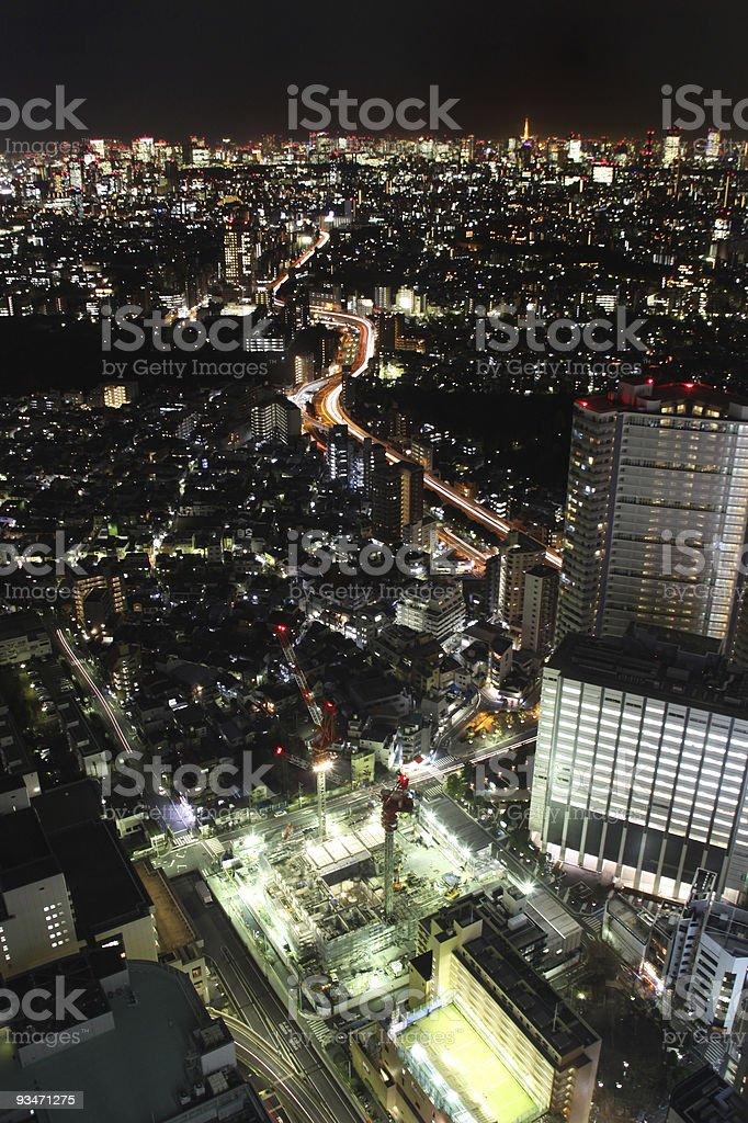 Tokyo night cityscape vertical stock photo
