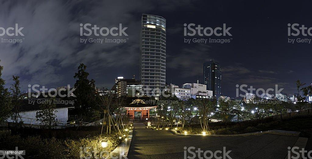 Tokyo night neon skscrapers and pagodas illuminated panorama Minato-ku Japan stock photo