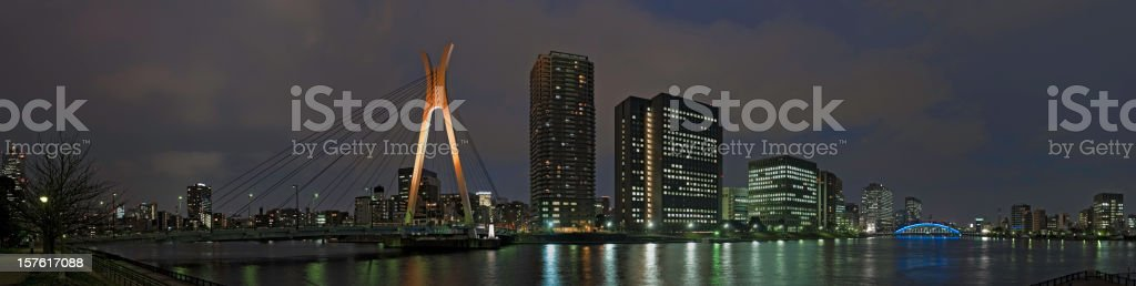Tokyo night river bridges skyscraper cityscape panorama Sumida-Gawa Chiyoda-ku Japan stock photo
