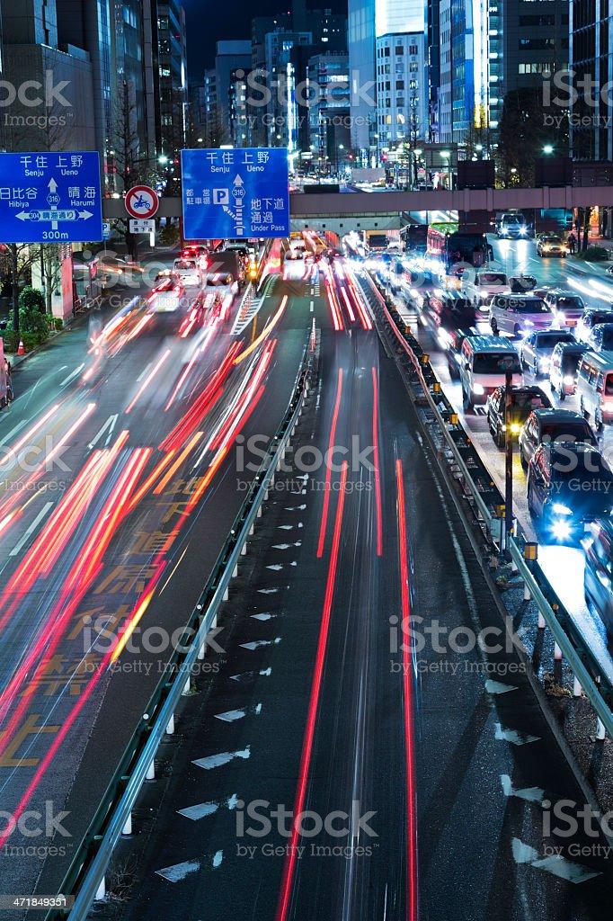 Tokyo Night Traffic royalty-free stock photo