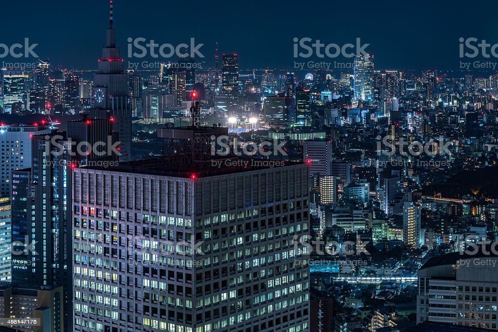 Tokyo night view from metropolitan government office stock photo