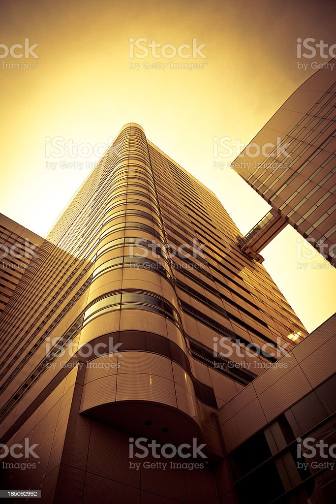 tokyo office building facade sunset glow royalty-free stock photo