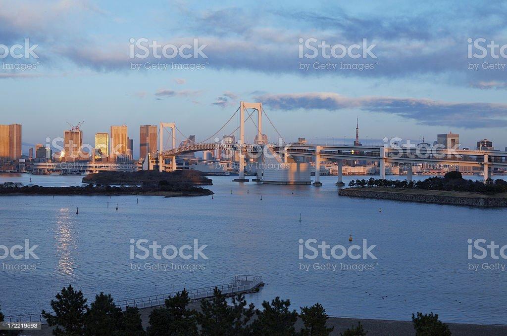 Tokyo Rainbow Bridge & Skyline at Sunrise royalty-free stock photo