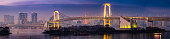 Tokyo Rainbow Bridge soaring over harbour bay futuristic cityscape Japan