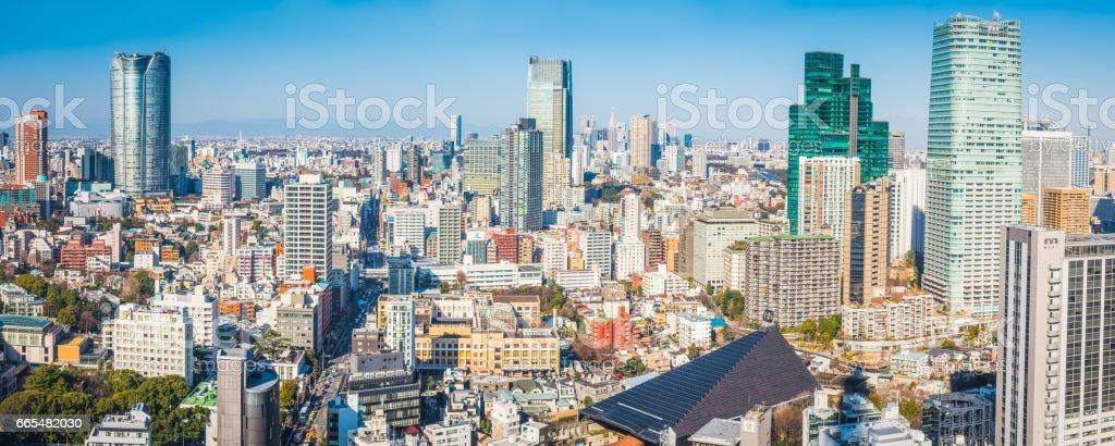 Tokyo Roppongi Hills Shibuya skyscrapers crowded cityscape panorama Japan stock photo