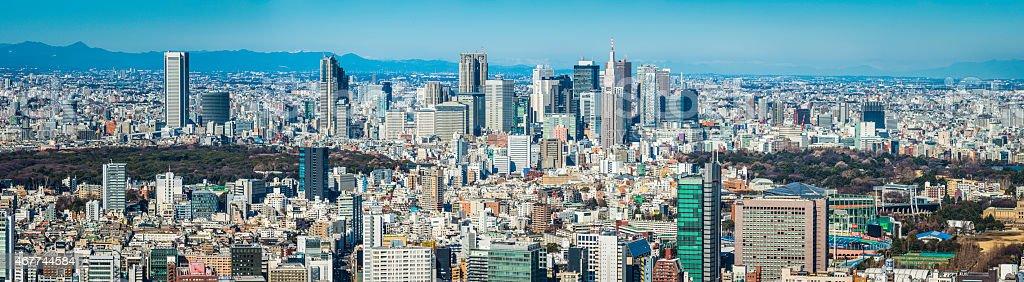 Tokyo Shinjuku skyscrapers crowded highrise cityscape aerial panorama Japan stock photo