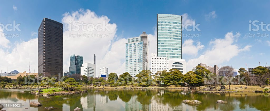 Tokyo Shiodome Shimbashi skyscrapers reflected in traditional tranquil Japanese gardens stock photo
