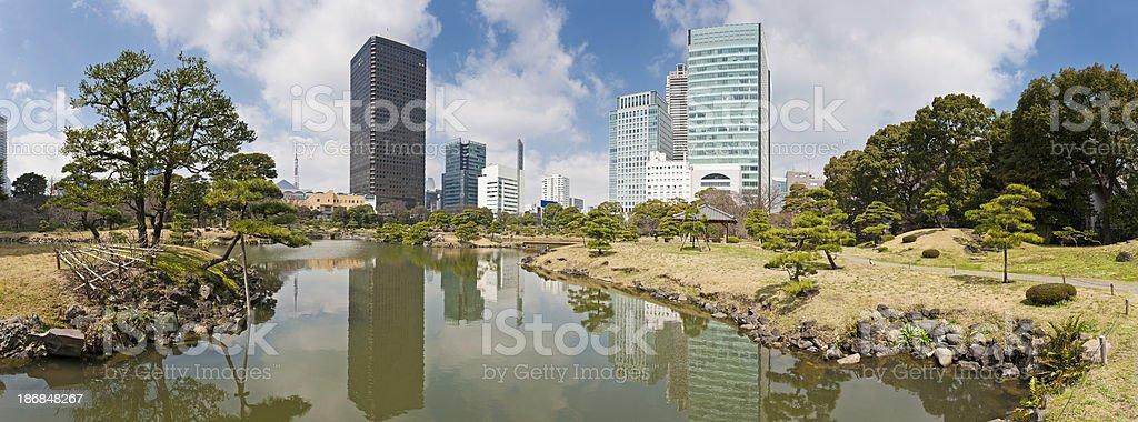 Tokyo Shiodome skyscrapers Shimbashi towers reflected tranquil lake panorama Japan stock photo