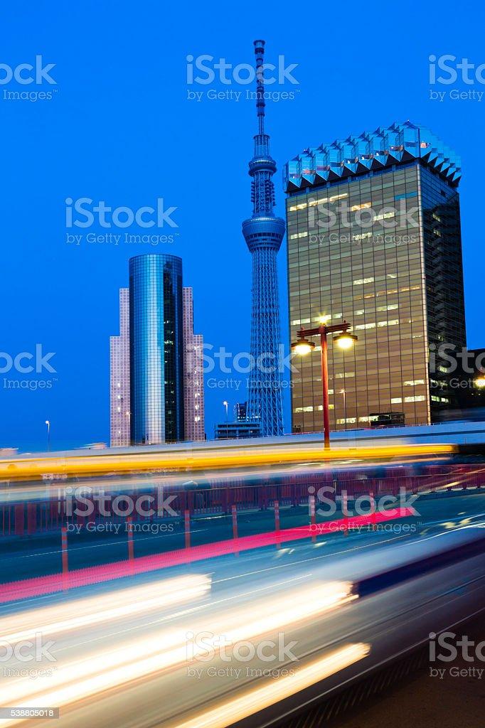 Tokyo Sky Tree and Light Trails at Dusk stock photo