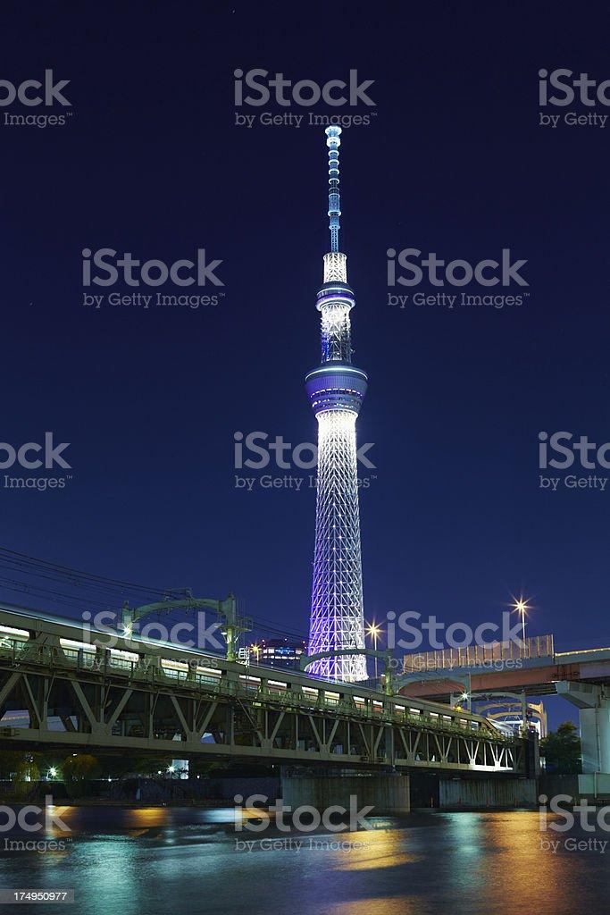 Tokyo Sky Tree and Railway bridge royalty-free stock photo