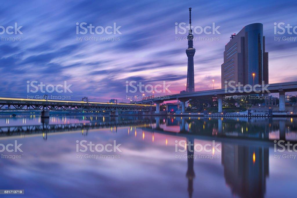 Tokyo Sky Tree and Sumida River, Tokyo, Japan at sunrise stock photo