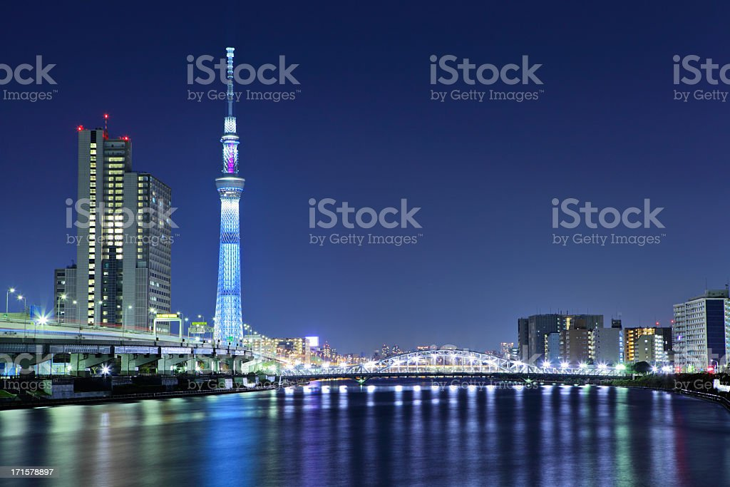 Tokyo Sky Tree at night royalty-free stock photo