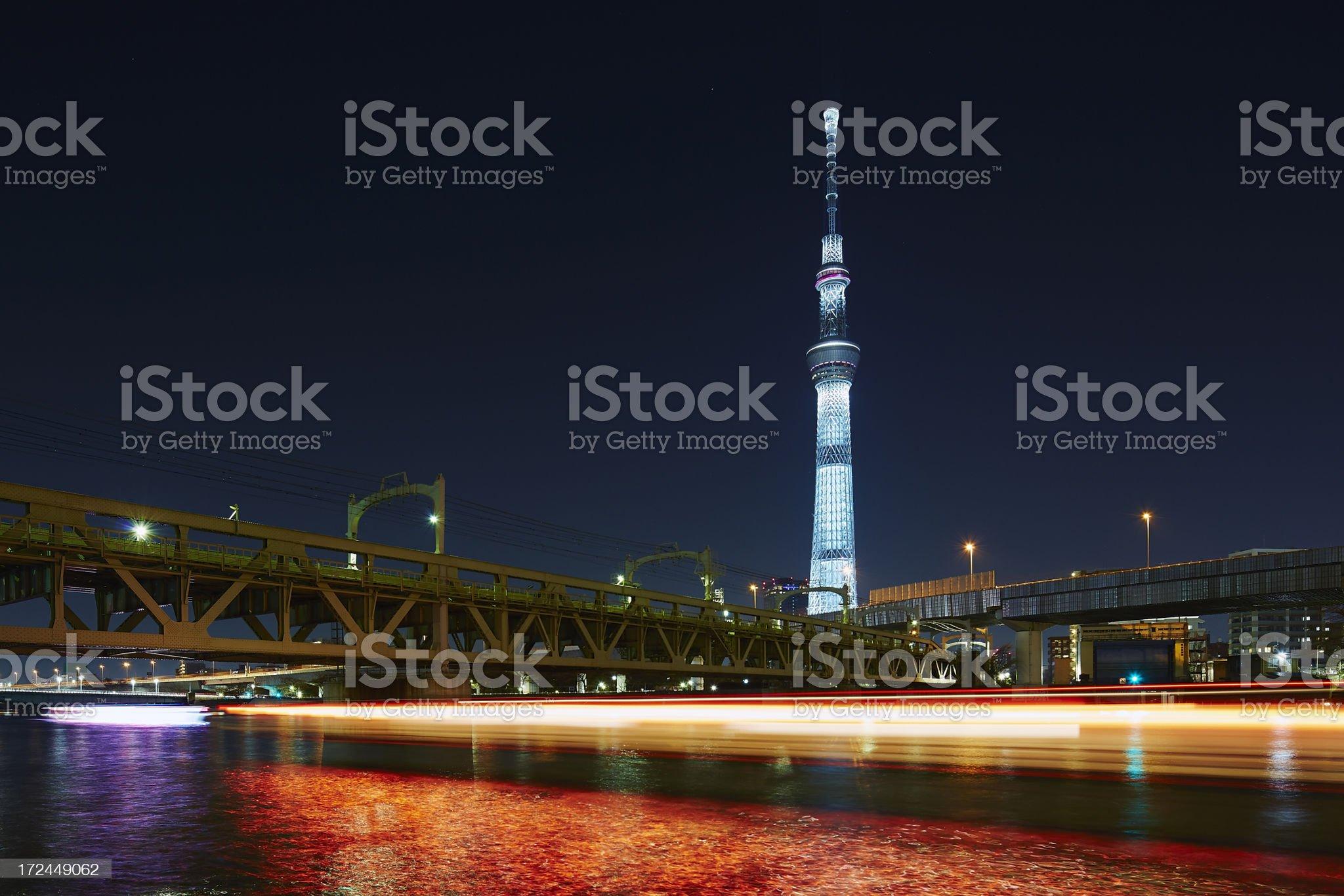 Tokyo Sky Tree at night royalty-free stock photo