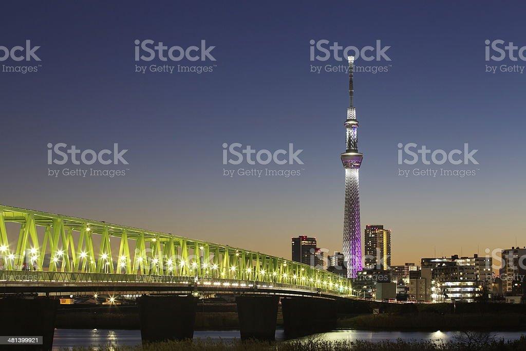 Tokyo Sky Tree at night,????????,??? stock photo