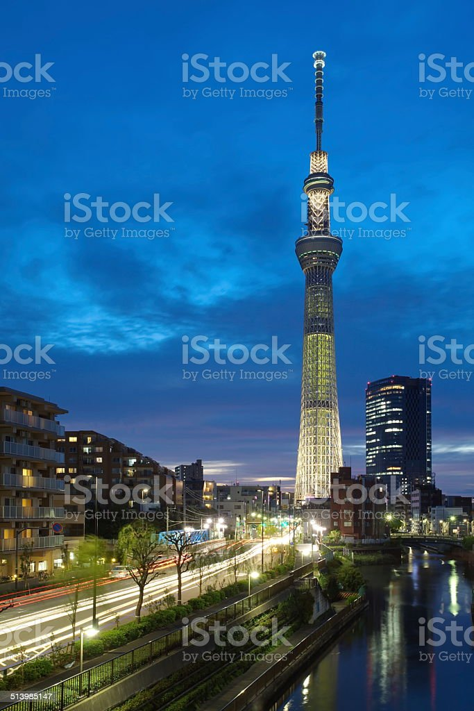 Tokyo sky tree with summer light up stock photo