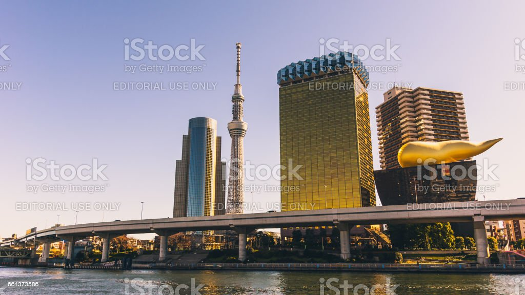 Tokyo skyline across the Sumida river stock photo