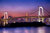 Tokyo skyline and Rainbow Bridge during dusk