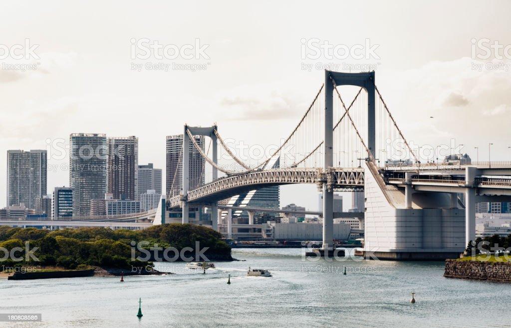 Tokyo Skyline and Rainbow Bridge royalty-free stock photo
