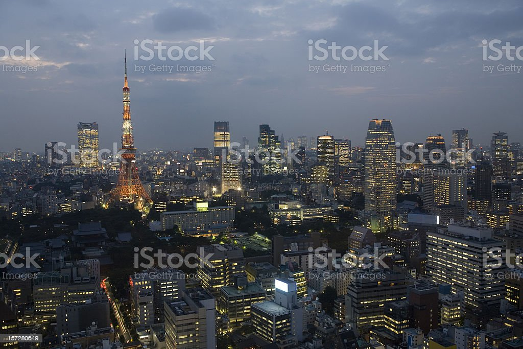Tokyo skyline at dusk royalty-free stock photo