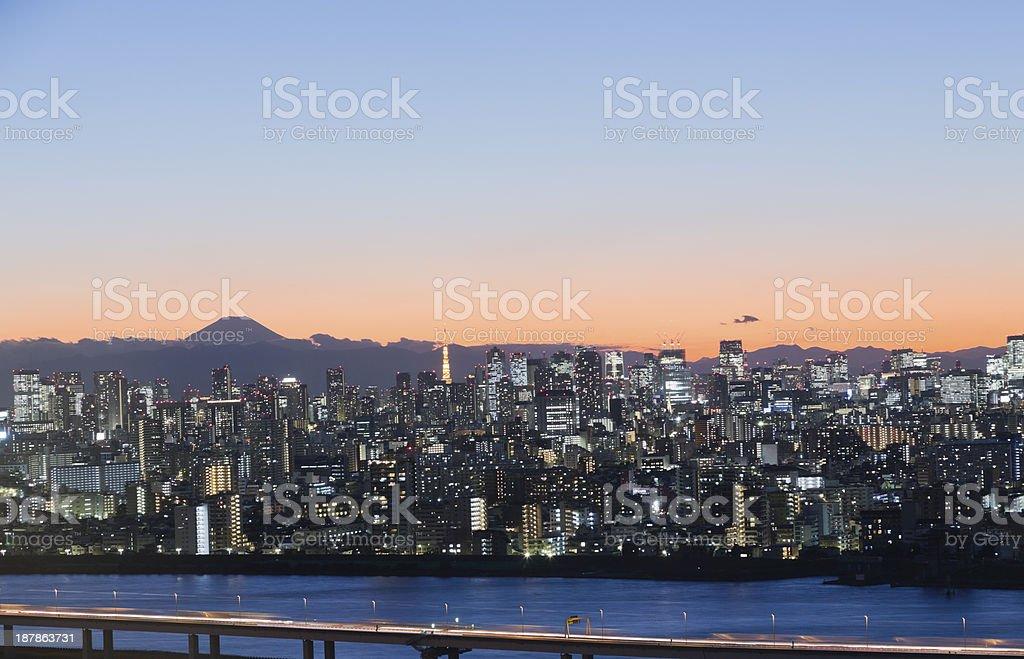 Tokyo Skyline at dusk royalty-free stock photo