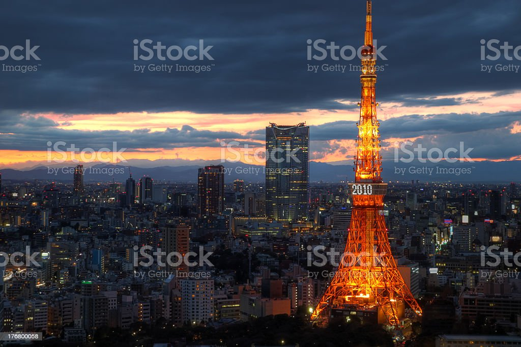 Tokyo skyline in 2010, Japan stock photo