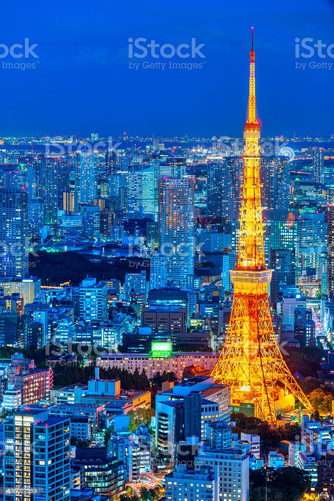 Tokyo skyline,  Japan. stock photo