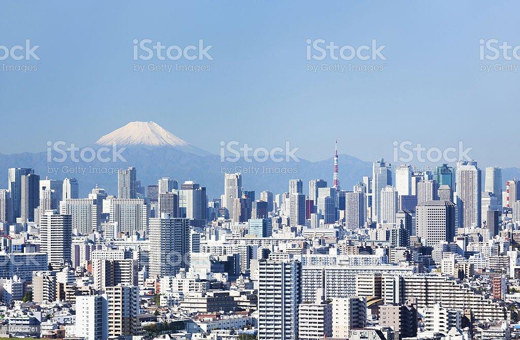 Tokyo Skyline & Mt Fuji stock photo