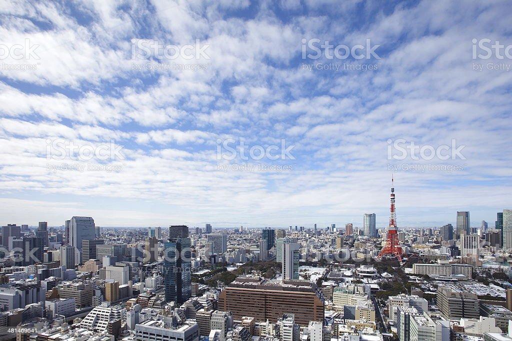 Tokyo skyline on the clear sky stock photo