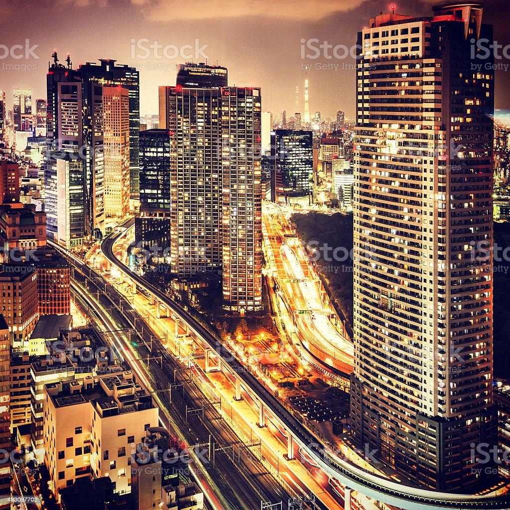 Tokyo skyline on the night stock photo