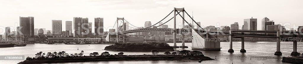 Tokyo skyline rainbow bridge panorama in sepia black and white stock photo