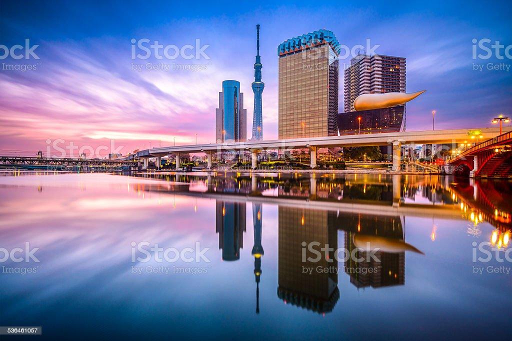 Tokyo Skyline Sumida River stock photo