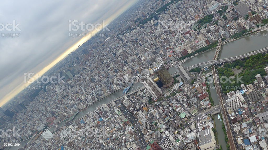 Tokyo skyline with river, park, street and sea. stock photo